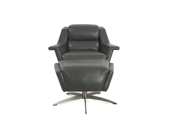 Kaato Full Top Grain Contemporary Leather Swivel Chair Accent