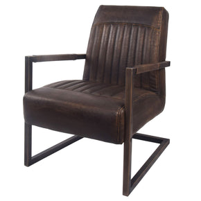 Jonah Industrial Distressed Leather Arm Chair