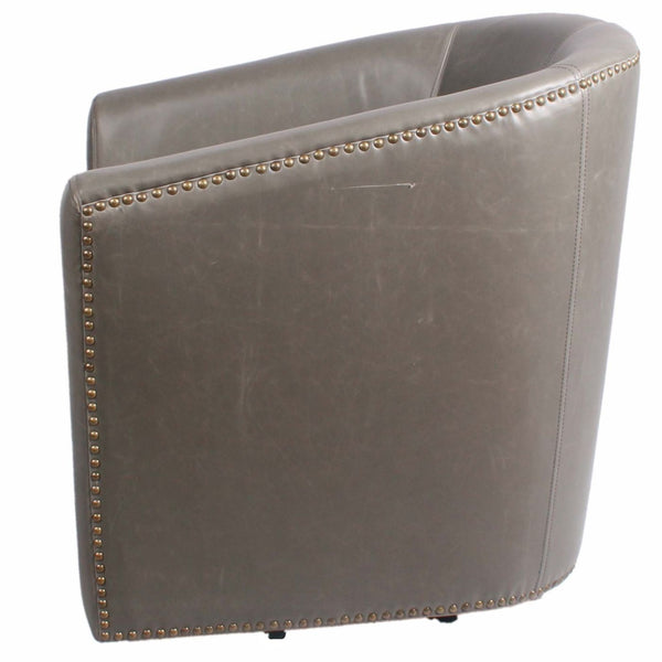 Ernest Bonded Leather Swivel Chair Vintage Gray Accent