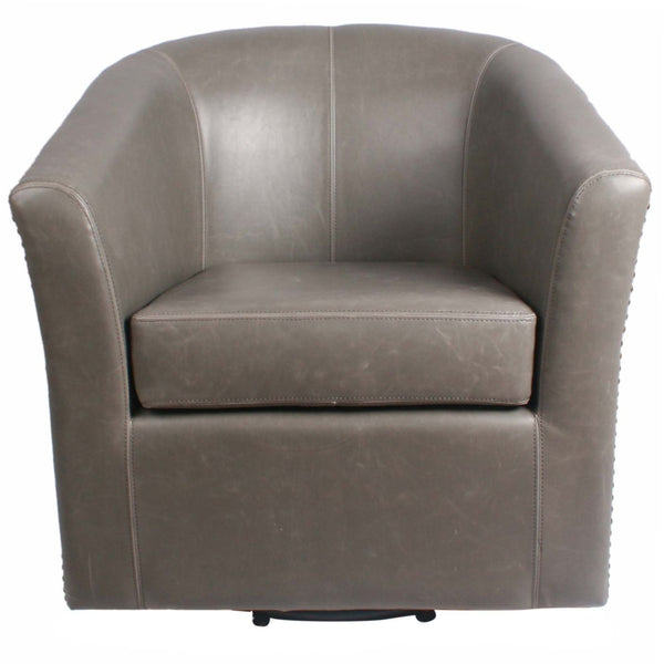 Gentil ... Ernest Bonded Leather Swivel Chair Vintage Gray Accent ...