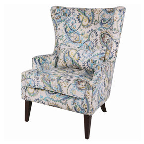 Clementine Wingback Arm Chair Wenge Legs Mazarine Paisley Accent