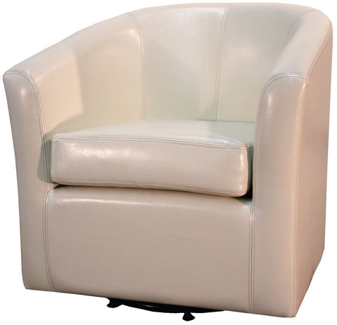 Hayden Swivel Bonded Leather Chair Beige Accent
