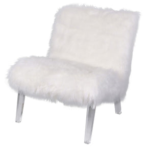 Prudence Faux Fur Chair Freesia White Accent