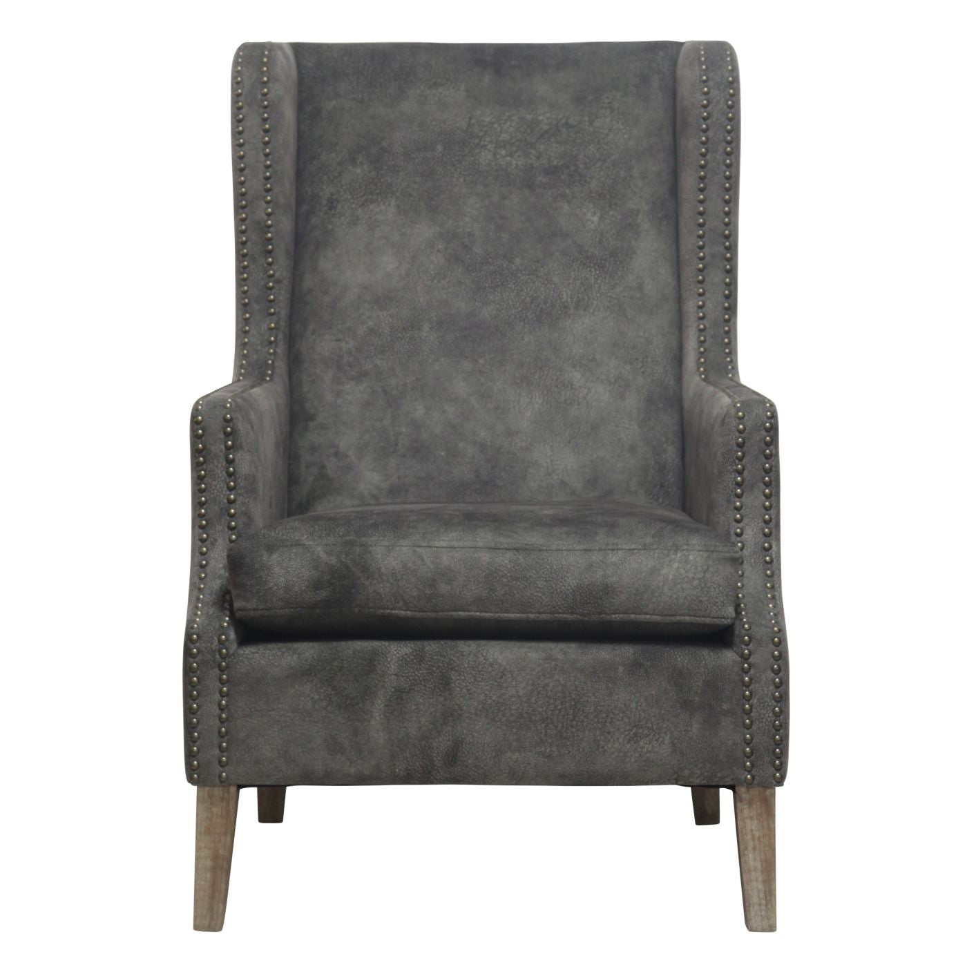 ... Ellington Wing Arm Chair Drift Wood Legs Pewter Hide Accent ...