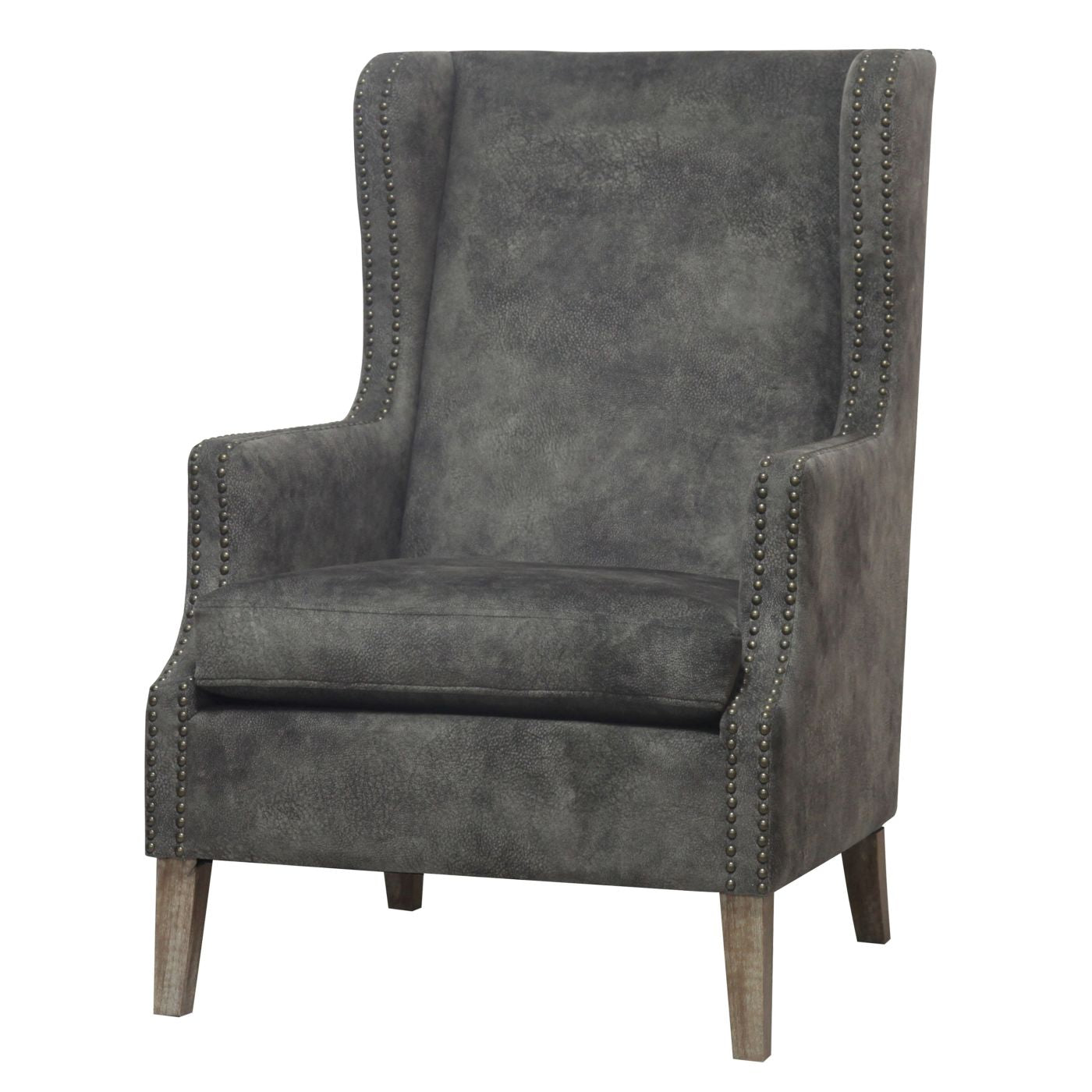 Ellington Wing Arm Chair Drift Wood Legs Pewter Hide Accent ...