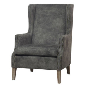 Ellington Wing Arm Chair Drift Wood Legs Pewter Hide Accent
