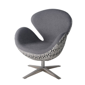 Beckett Swivel Chair Chrome Legs Gray Shower/diamond Art Accent