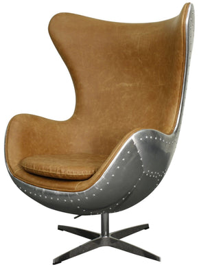 Industrial Chic Swivel Rocker Chair Aluminium Frame Distressed Caramel