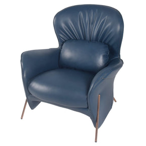 Omega Pu Leather Accent Chair Deep Sea Blue