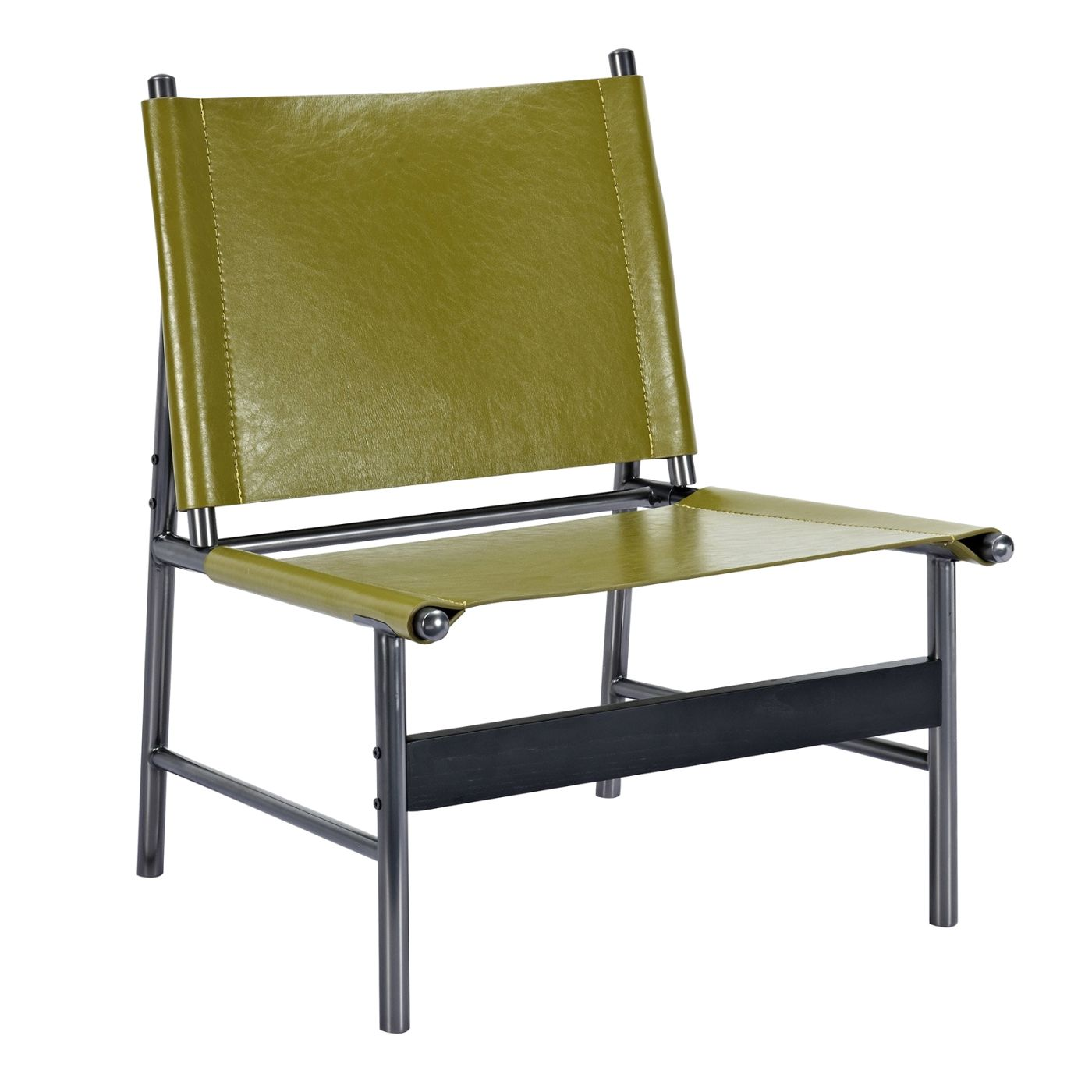 Slad chair olive green black accent