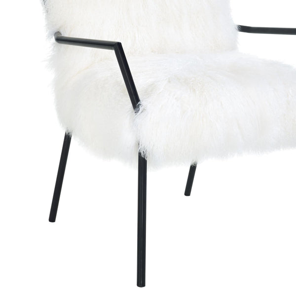 Uma White Sheepskin Accent Chair With Black Frame