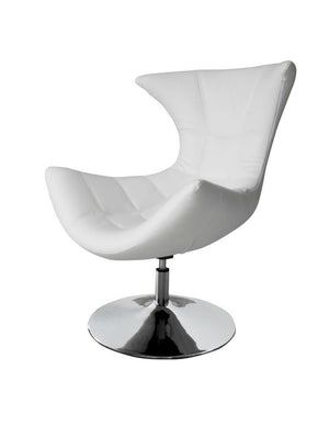 Charlotte Swivel Chair White Eco Leather Accent