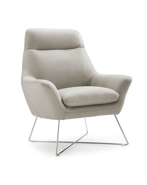 Daiana Chair Light Gray Top Grain Italian Leather Accent