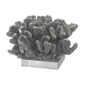 Silver Coral On Acrylic Base Leaf Accessories