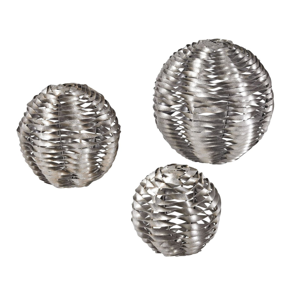 Set Of 3 Metal Work Objects Silver Leaf Accessories