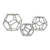 Set Of 3 Geometric Orbs Grey Iron With Gold Highlight Accessories