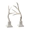 Weathered Resin Buck Antlers On White Base - Set Of 2 Cream Accessories