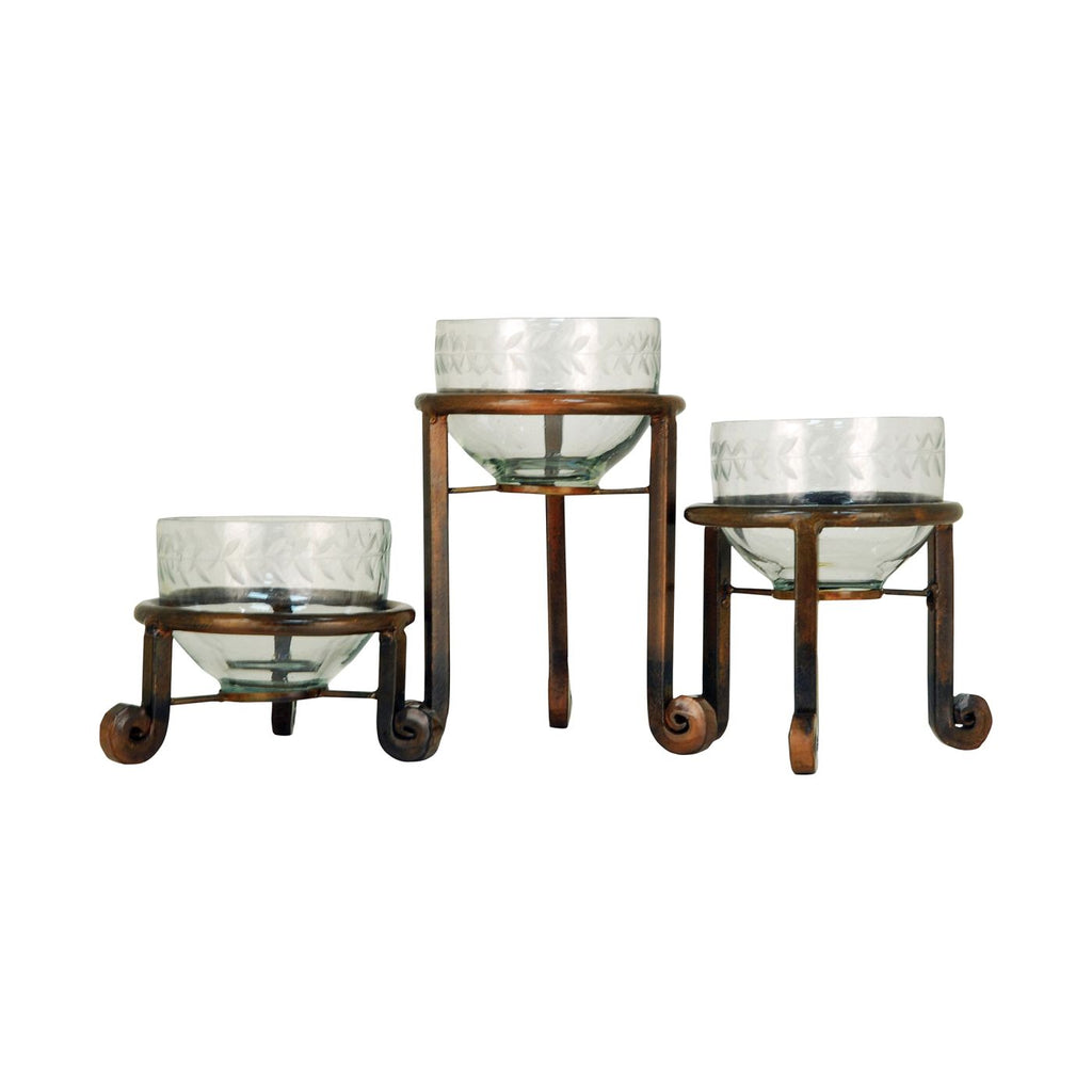 Accessories - Elk Group ELK-607660 Telluride Set of 3 Botanas Burned Copper, Clear | 769072607660 | Only $60.00. Buy today at http://www.contemporaryfurniturewarehouse.com