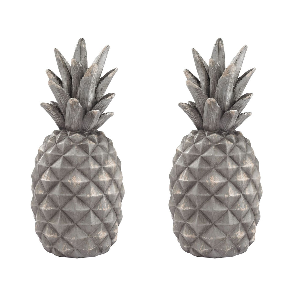 Set Of 2 Aged Grey Pineapples Accessories