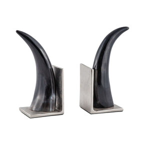 Abilene Natural Horn Bookends - Set Of 2 Natural,nickel Accessories