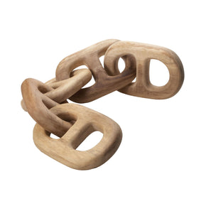 Hand Carved 5-Link Decorative Wooden Chain Brown Accessories