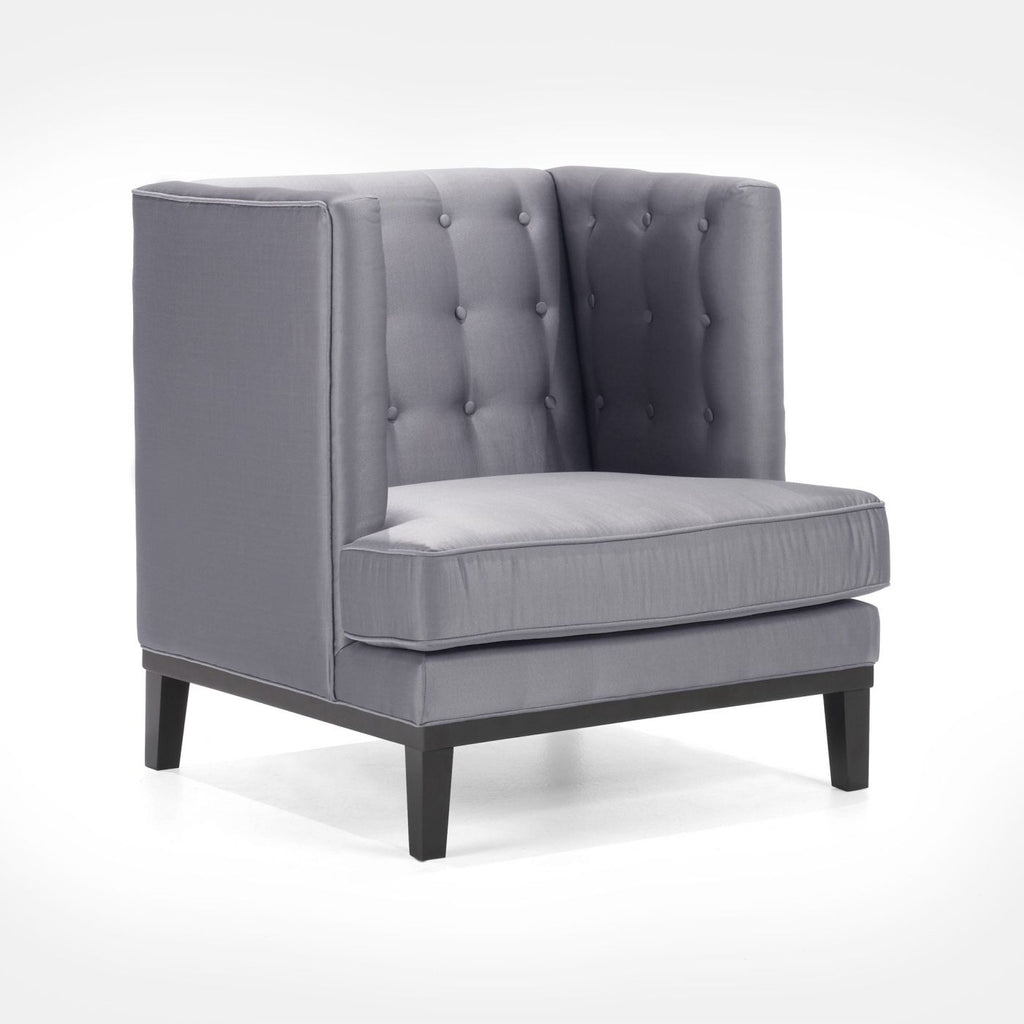 Noho Arm Chair In Silver Satin Fabric Armchair