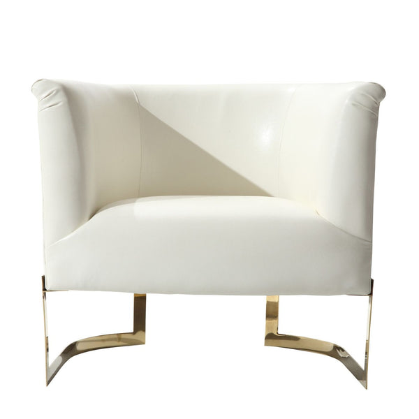 Elite Contemporary Accent Chair In White And Gold Finish Armchair