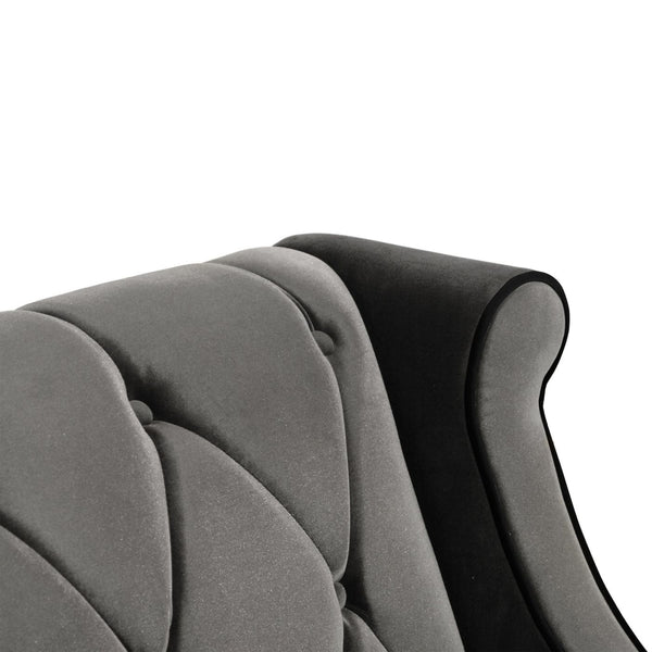 Barrister Chair In Gray Velvet With Black Piping Armchair