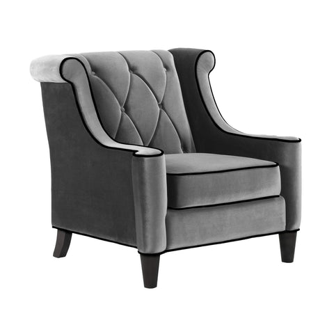 Armchairs - Armen Living LC8441GRAY Barrister Chair In Gray Velvet with Black Piping | 608938468505 | Only $725.00. Buy today at http://www.contemporaryfurniturewarehouse.com