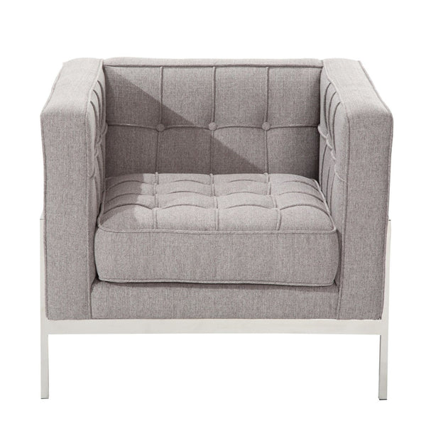 Andre Contemporary Chair In Gray Tweed And Stainless Steel Armchair