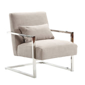 Skyline Modern Accent Chair In Gray Linen And Steel Armchair
