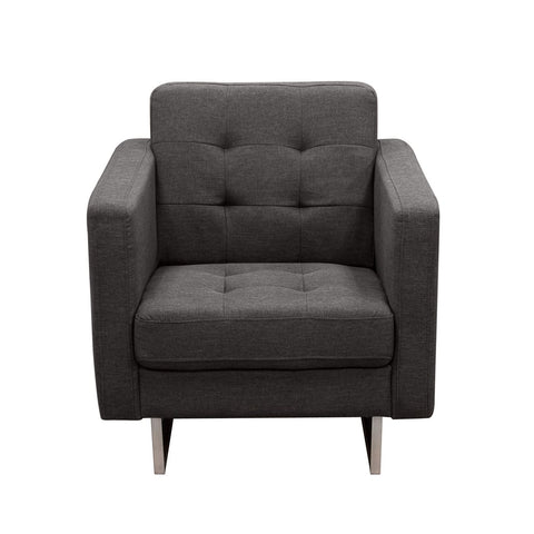 Opus Tufted Chair Grey Fabric Armchair