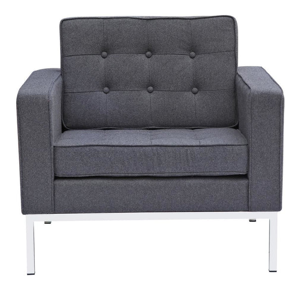 Button Arm Chair In Wool Gray Armchair