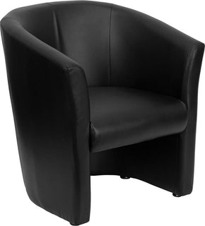 Black Leather Barrel Shaped Guest Chair