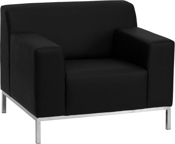 Definity Series Contemporary Black Leather Chair With Stainless Steel Frame Armchair