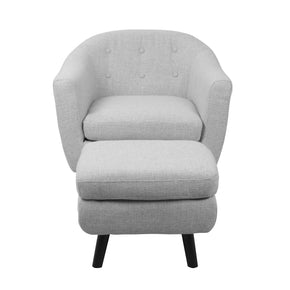Rockwell Chair With Ottoman Light Grey Armchair