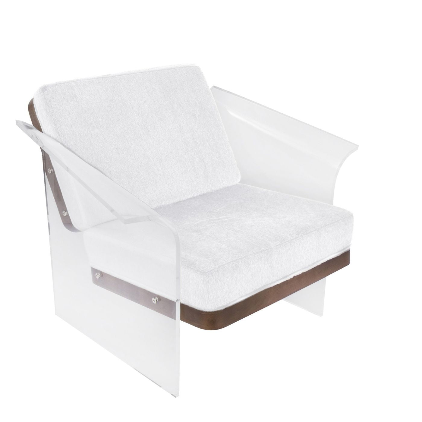 Buy Lumisource Chr Float Wl W Float Clear Chair Walnut Wood White Faux Fur Fabric At Contemporary Furniture Warehouse