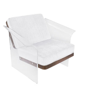 Float Chair Walnut Wood White Fabric Armchair