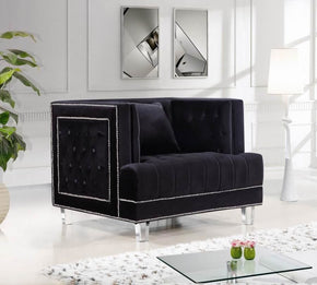 Lucas Black Velvet Chair Armchair