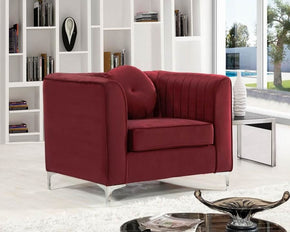 Isabelle Burgundy Velvet Chair Armchair