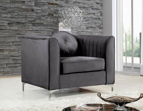 Isabelle Grey Velvet Chair Armchair