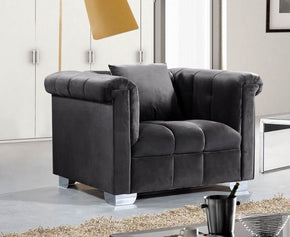 Kayla Grey Velvet Chair Armchair