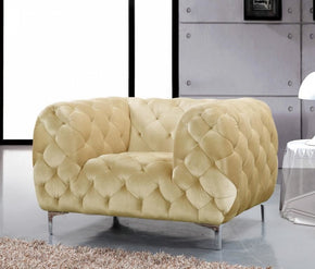 ArmChairs - Meridian 646BE-C Mercer Beige Velvet Chair | 635963990909 | Only $509.80. Buy today at http://www.contemporaryfurniturewarehouse.com