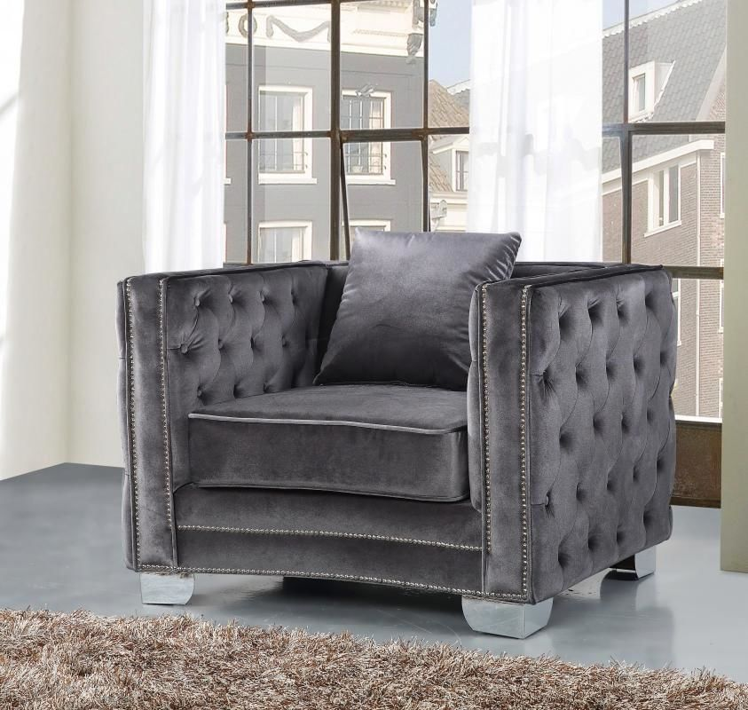 Exceptionnel Reese Grey Velvet Chair Armchair