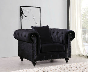 Chesterfield Black Velvet Chair Armchair