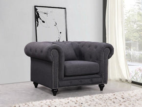 Chesterfield Grey Linen Chair Armchair