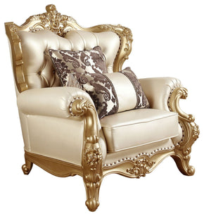 Meridian Bennito French Provincial Gold Pearl Leather Arm Chair 676-C | 647899945656| $949.80. ArmChairs - . Buy today at http://www.contemporaryfurniturewarehouse.com