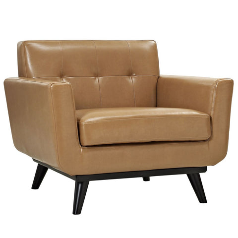 Engage Mid Century Modern Bonded Leather Armchair Tan