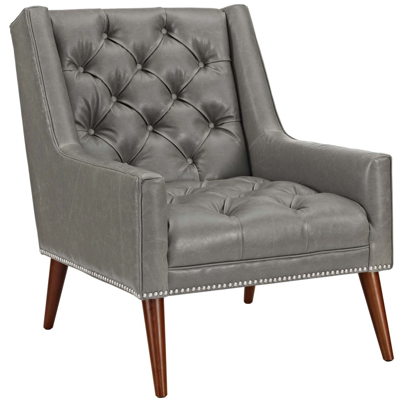 Exceptionnel Peruse Faux Leather Armchair Gray ...