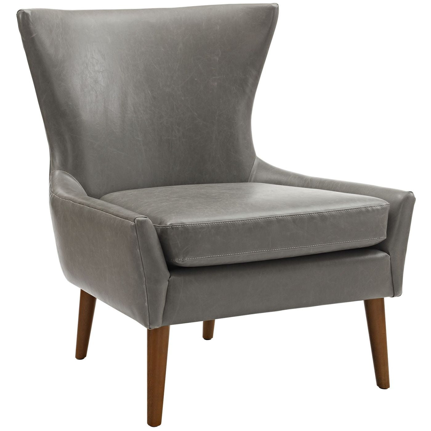 Bon Keen Upholstered Faux Leather Armchair Gray ...